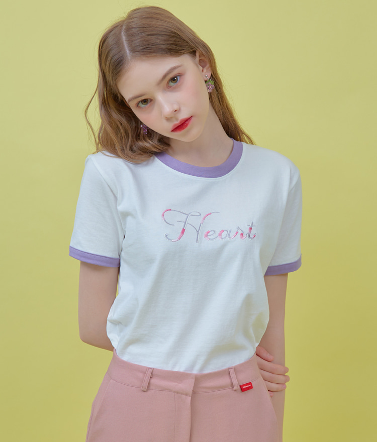 HEART CLUBHEART Embroidery Contrast Trim White T-Shirt