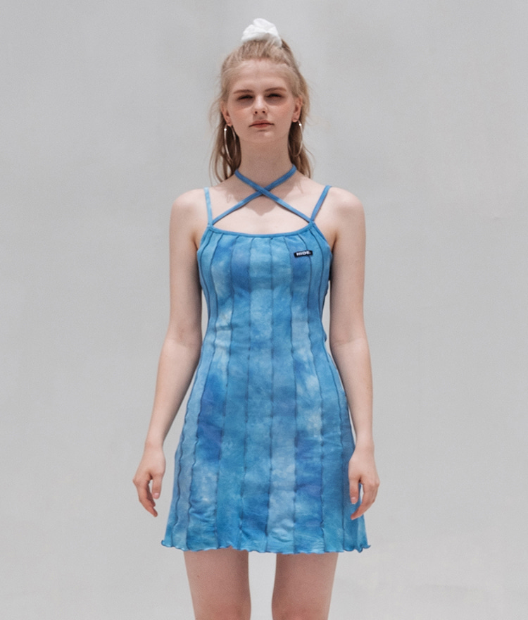 HIDESky Blue Tie-Dye Strappy Dress
