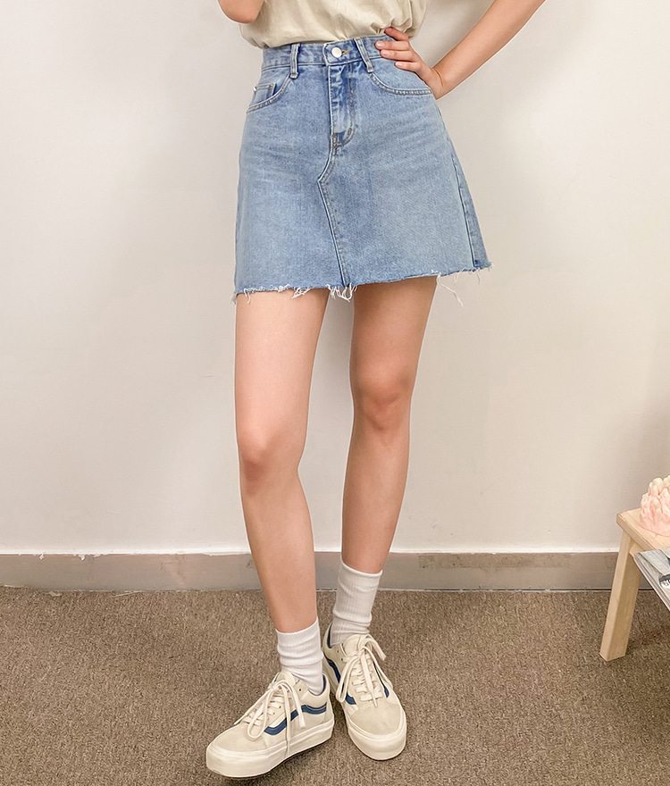 NEVERM!NDFrayed Hem A-Line Mini Denim Skirt
