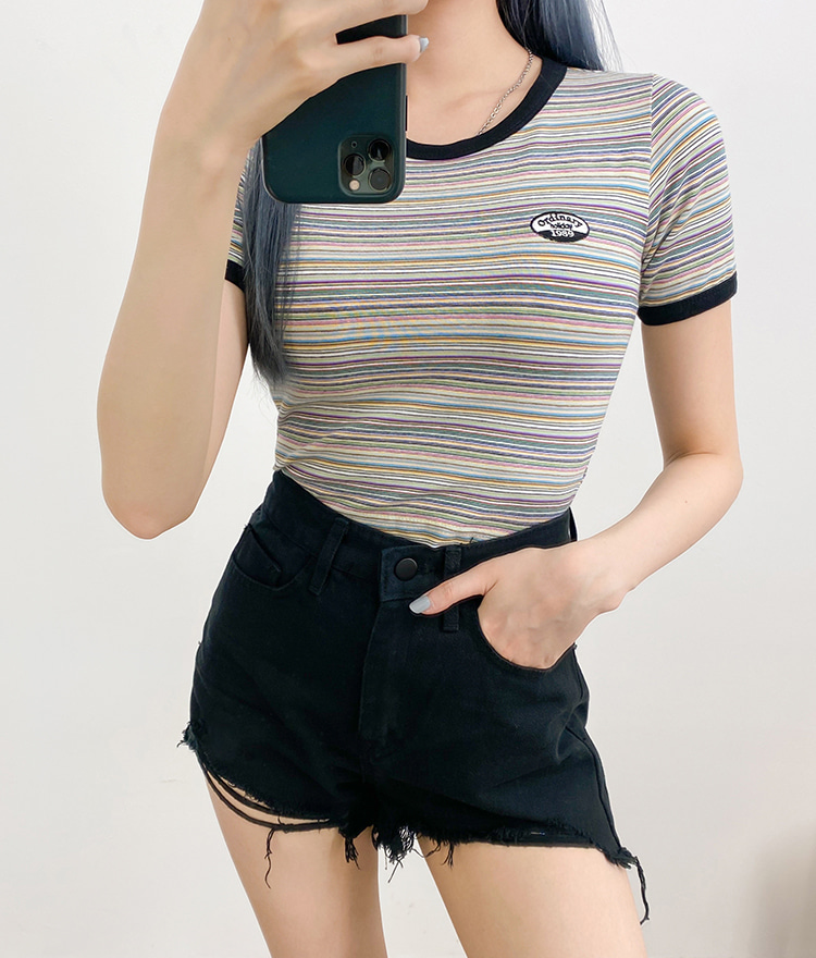 NEVERM!NDEmbroidered Patch Striped Crop Top