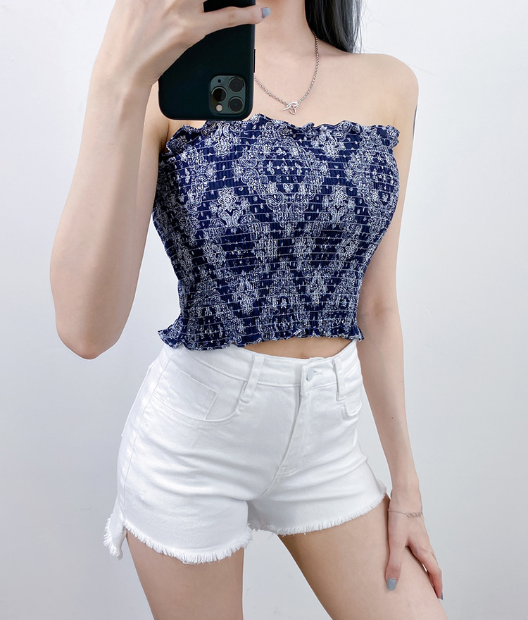 QUIETLABPaisley Shirred Tube Top