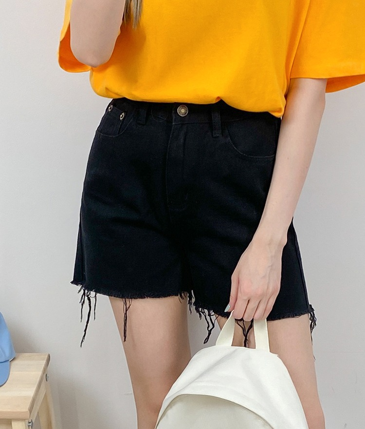 NEVERM!NDFrayed Hem Mid-Thigh Shorts