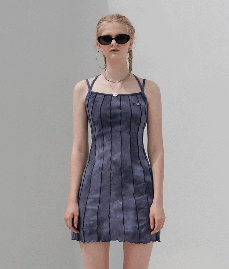 HIDEDeep Navy Tie-Dye Strappy Dress