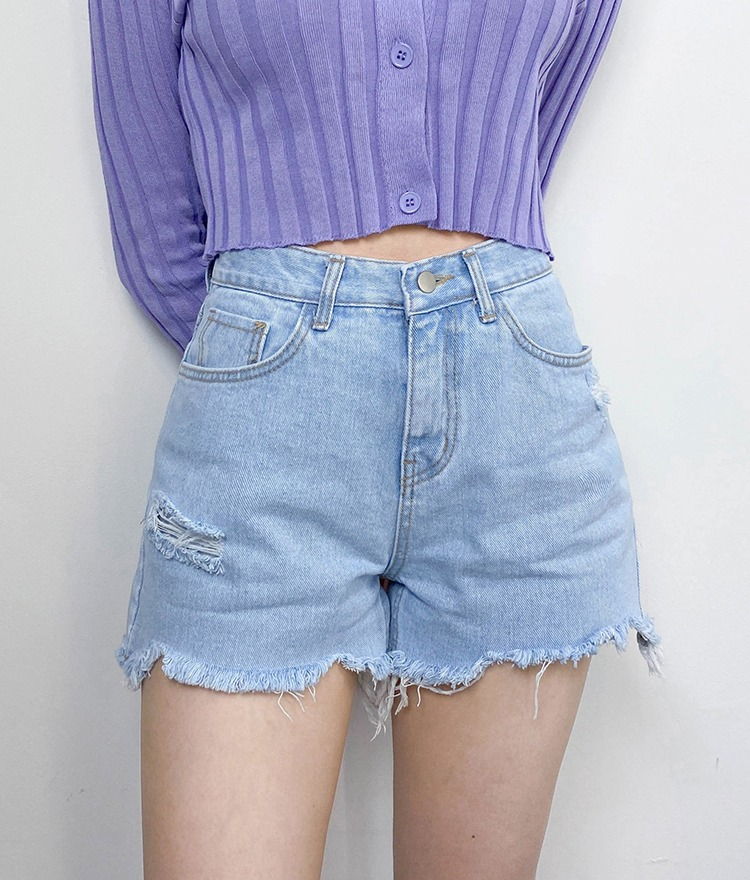 QUIETLABFrayed Hem Distressed Denim Shorts