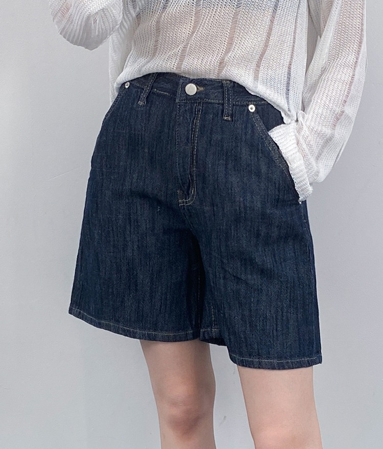 QUIETLAB4-Pocket Wide-Leg Denim Shorts