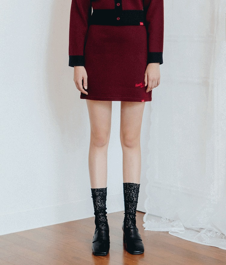 HEART CLUBContrast Waist Mini Knit Skirt