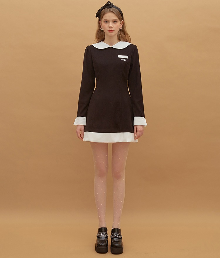 HEART CLUBContrast Collar Black Mini Dress