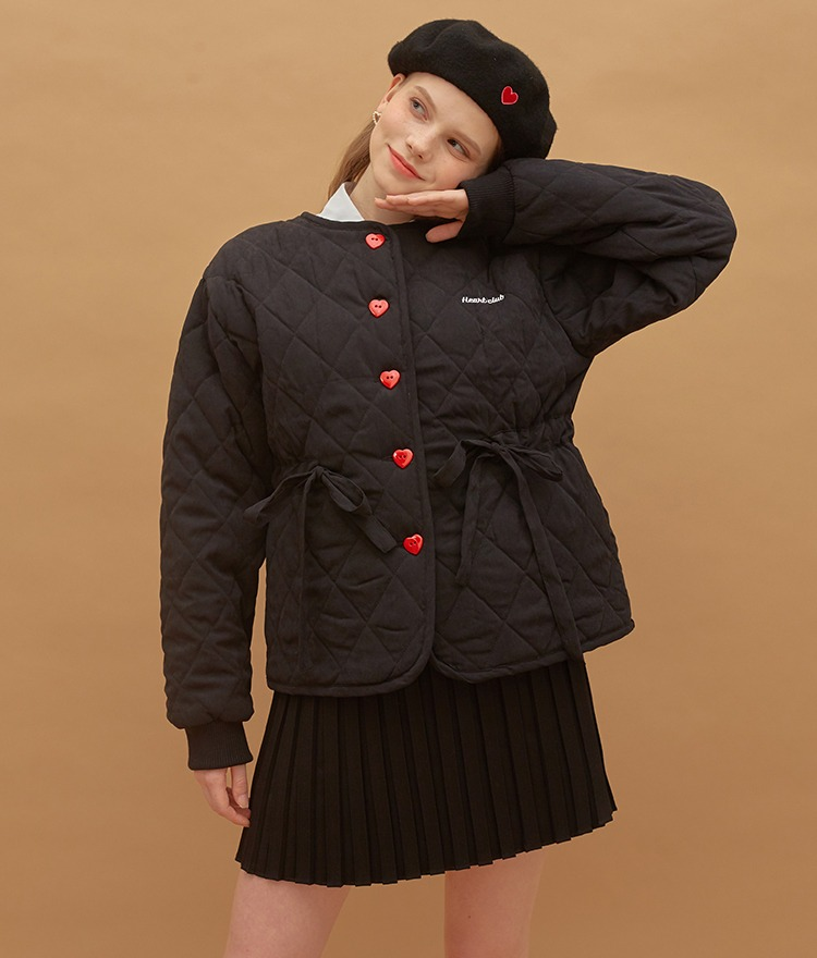 HEART CLUBDrawstring Waist Quilted Black Jacket