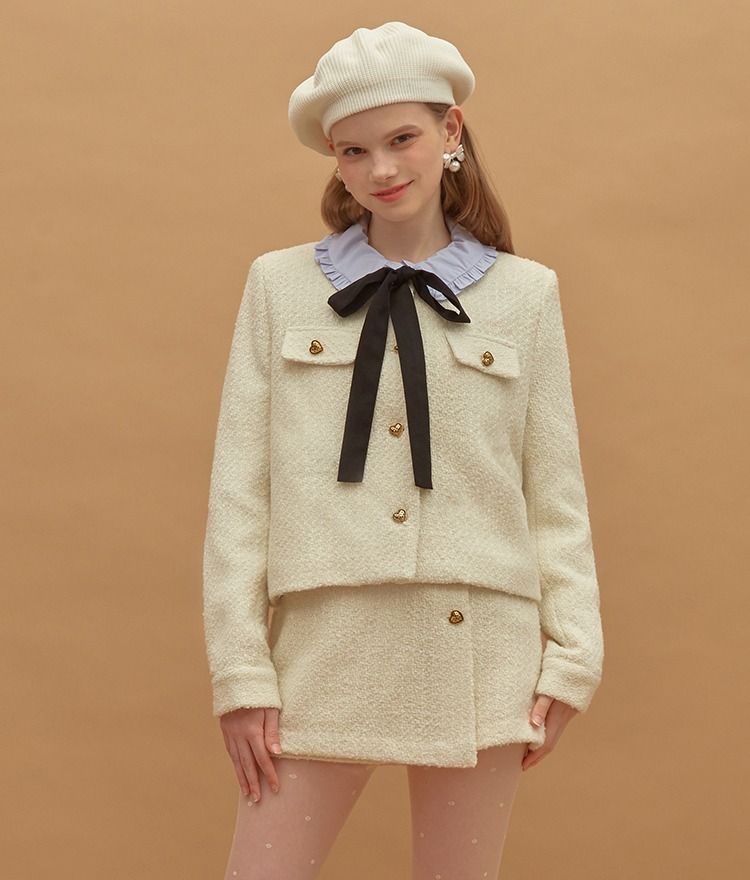 HEART CLUBHeart Button Tweed Ivory Jacket