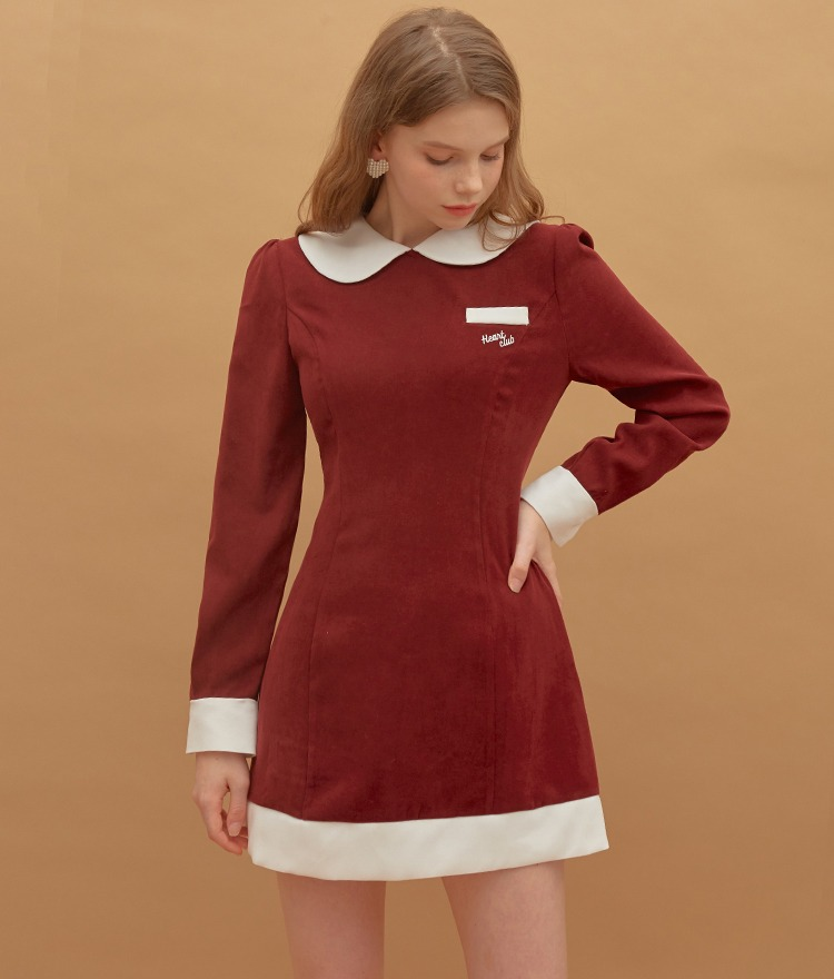 HEART CLUBContrast Collar Wine Mini Dress