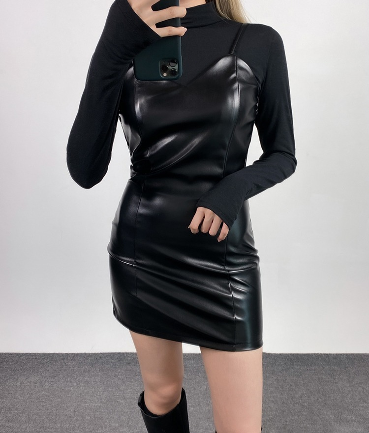 QUIETLABBack Zip Slim Leatherette Mini Dress