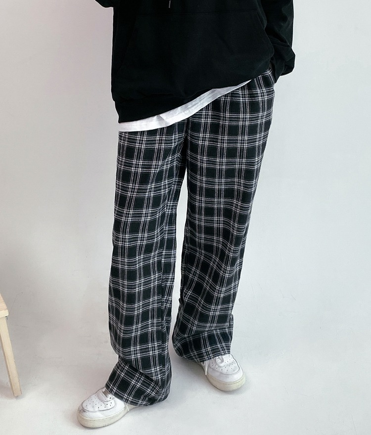 NEVERM!NDBaggy Check Pants