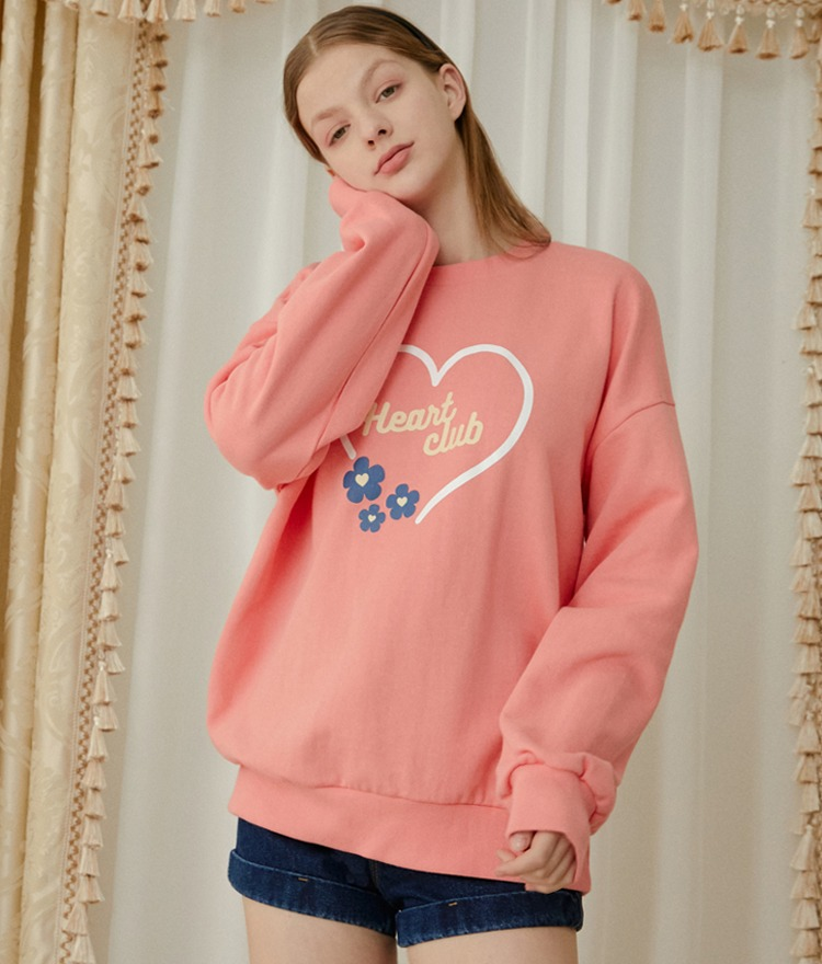 HEART CLUBCoral Pink Logo And Flower Print Sweatshirt