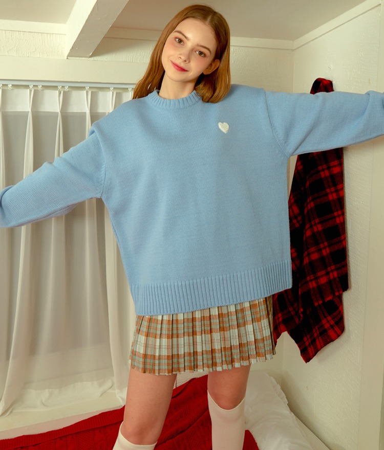 HEART CLUBSky Blue Contrast Heart Patch Knit Top