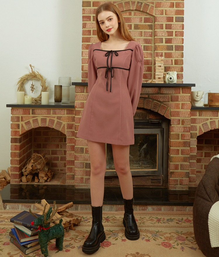 HEART CLUBContrast Ribbon Indie Pink Dress