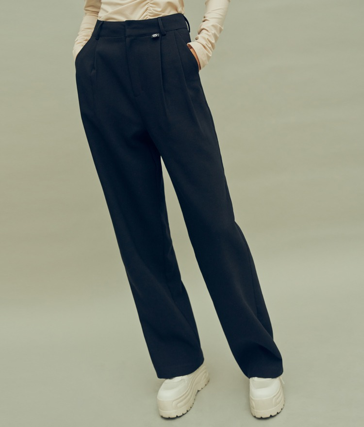 HIDEBlack Pleat Accent Slacks