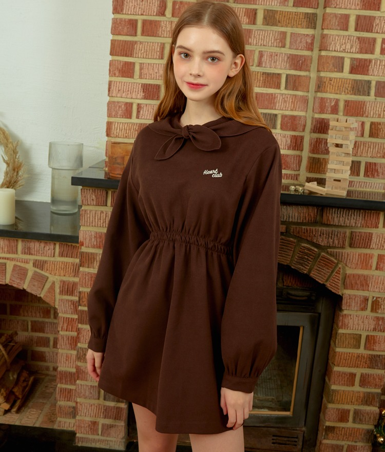 HEART CLUBSelf-Tie Collar Chocolate-Colored Mini Dress