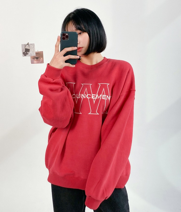NEVERM!NDEmbroidered Detail Crew Neck Sweatshirt