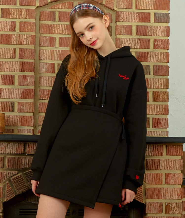 HEART CLUBBlack Hooded Mini Dress