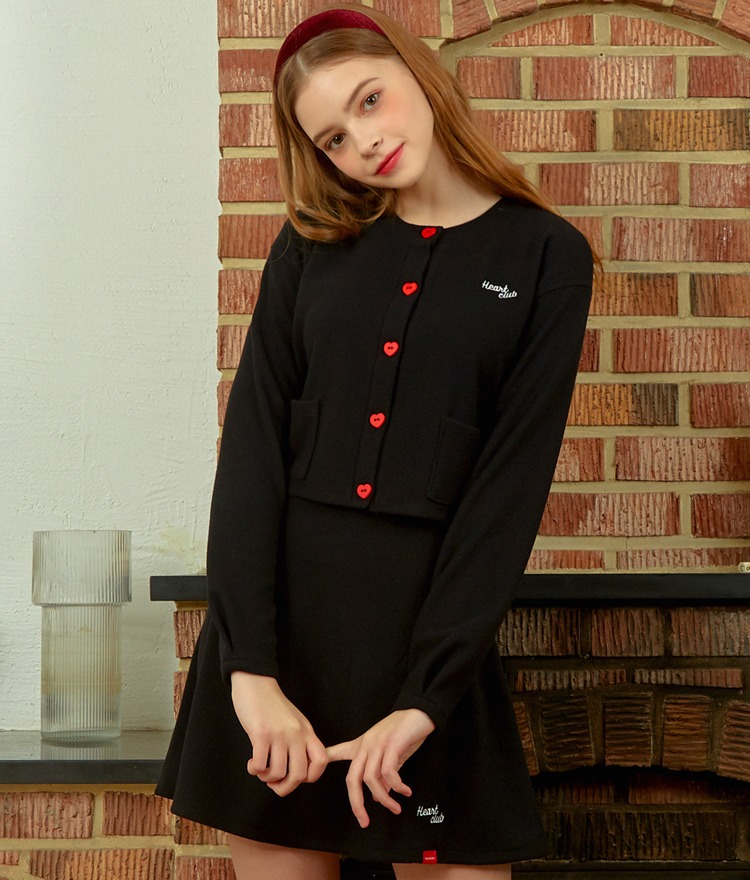 HEART CLUBBlack Button-Front Crop Cardigan