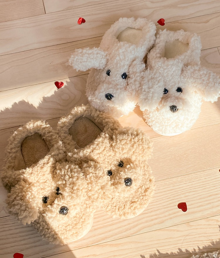 NEVERM!NDFuzzy Dog-Themed Slippers