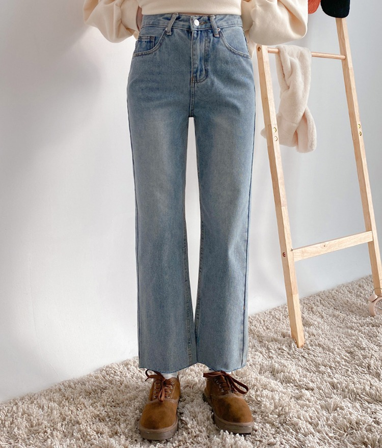 NEVERM!NDFleece-Lined Faded Light Blue Jeans