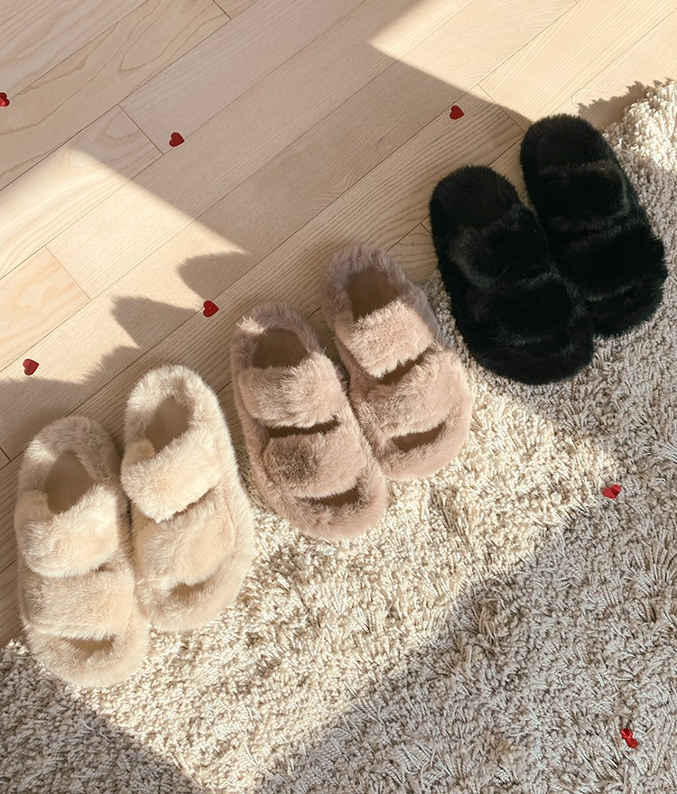 NEVERM!NDWide Strap Fuzzy Slippers