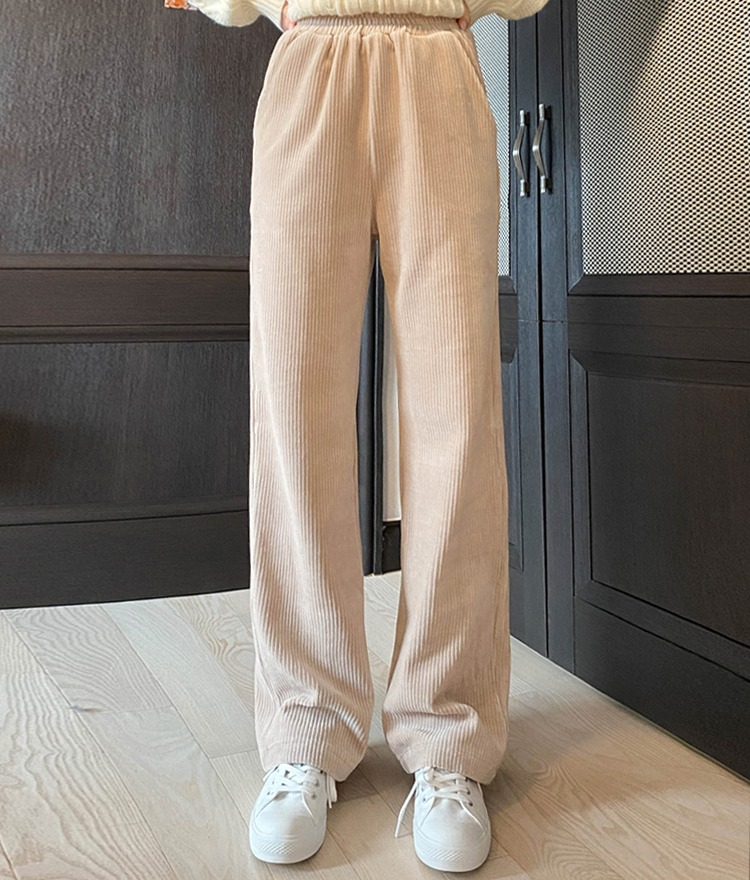 ESSAYElastic Waist Loose Ribbed Pants
