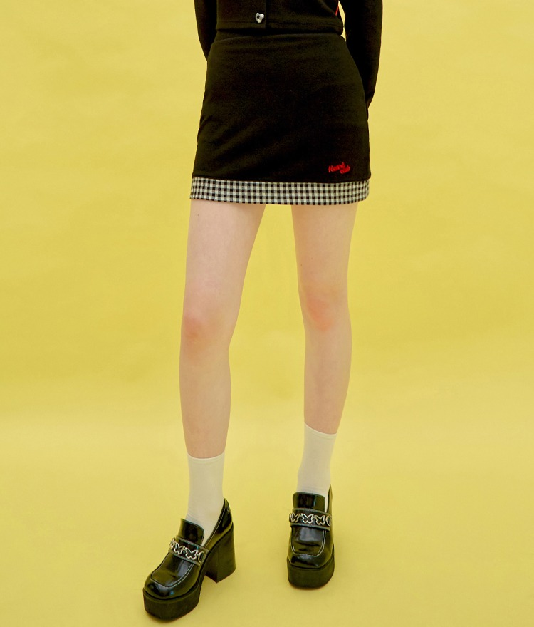 HEART CLUBContrast Check Hem Black Mini Skirt