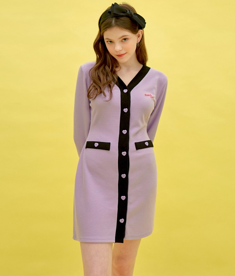 HEART CLUBContrast Placket Mini Dress
