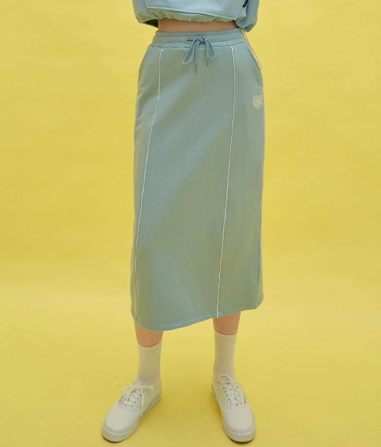 HEART CLUBContrast Piping Drawstring Waist Skirt