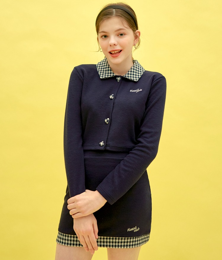 HEART CLUBContrast Check Collar Navy Top