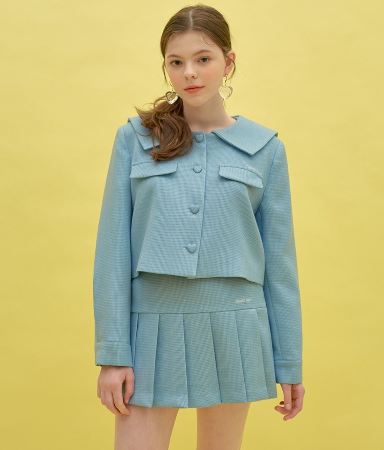 HEART CLUBSky Blue Heart Button Jacket