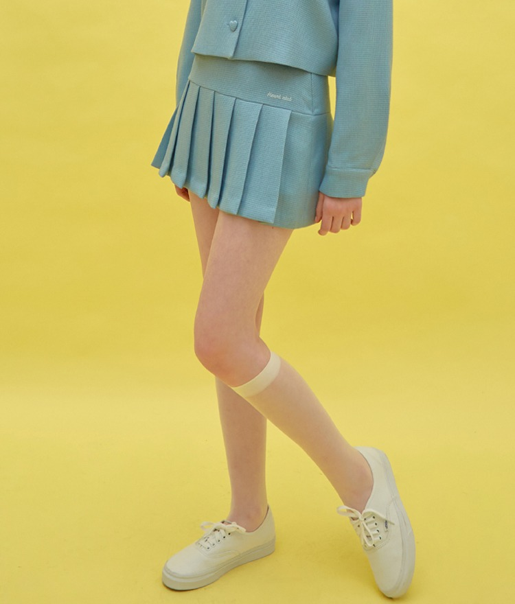HEART CLUBSky Blue Pleated Hem Mini Skirt