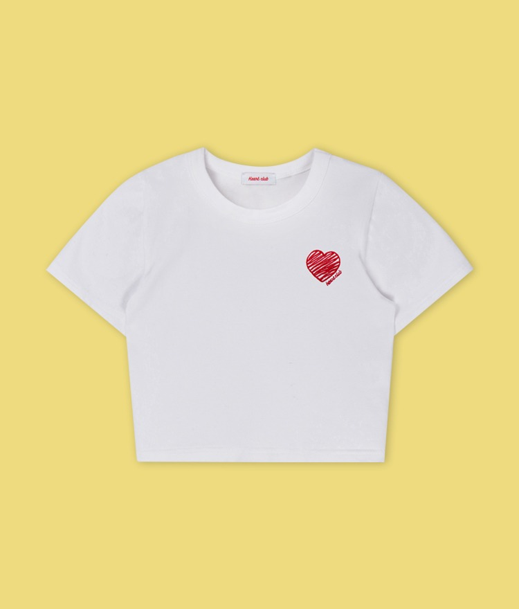 HEART CLUBEmbroidered Heart Accent White Crop Top