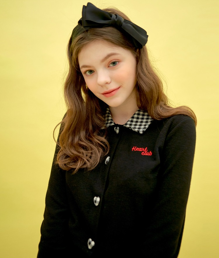 HEART CLUBContrast Check Collar Black Top