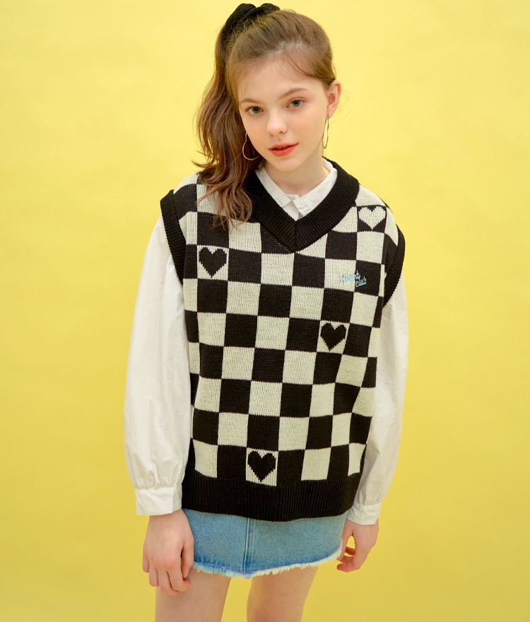 HEART CLUBHeart Accent Checkerboard Vest