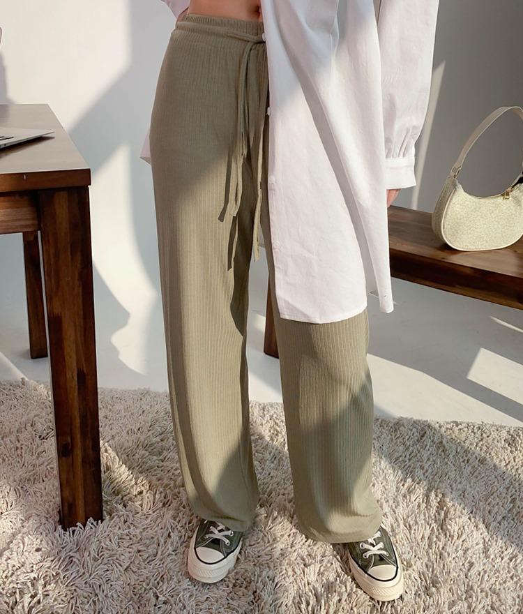 NEVERM!NDSolid Color Wide-Leg Drawstring Pants
