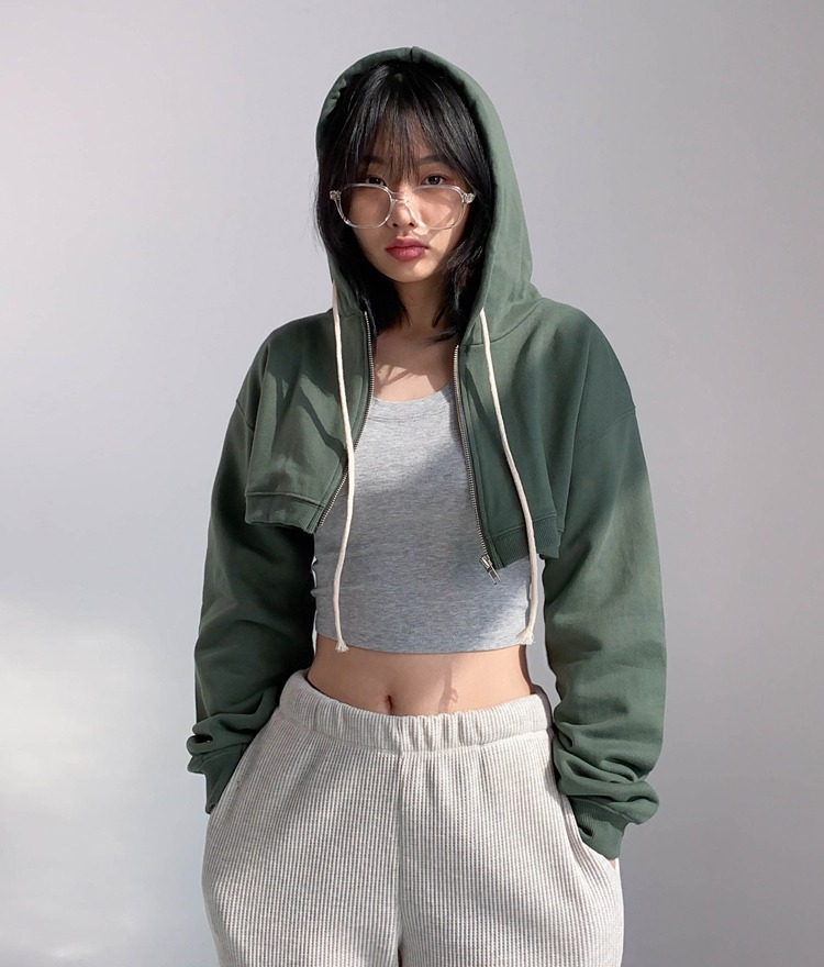 QUIETLABHooded Zip-Front Crop Jacket