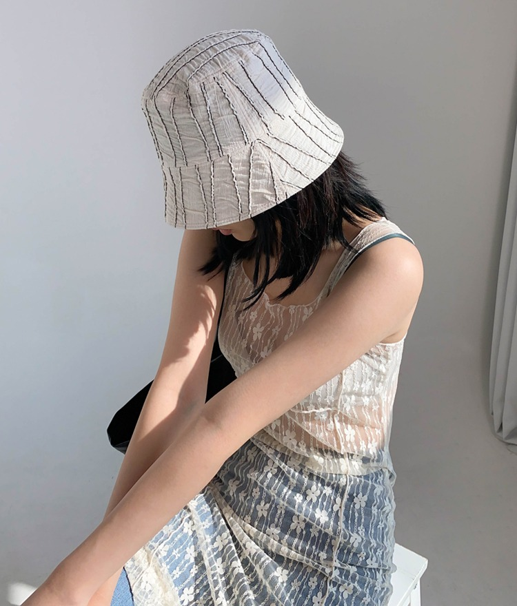 QUIETLABTextured Stripe Pattern Bucket Hat