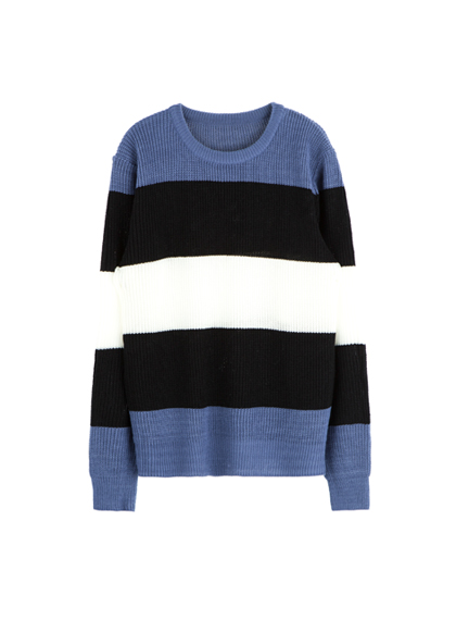 Color Block Round Neck Knit Sweater