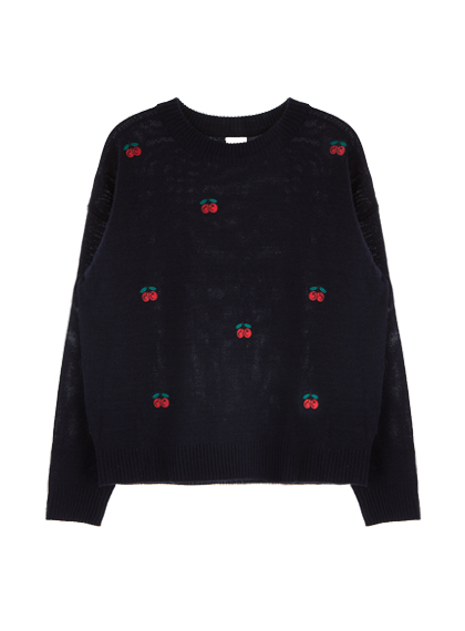 Cherry Embroidered Knit Sweater