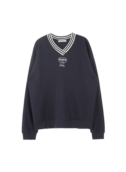 HIDE AND SEEKHEARTS CLUB V-Neck Sweatshirt