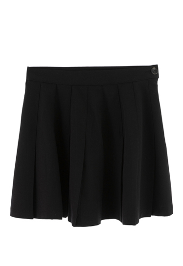 Solid Color Pleated Mini Skirt